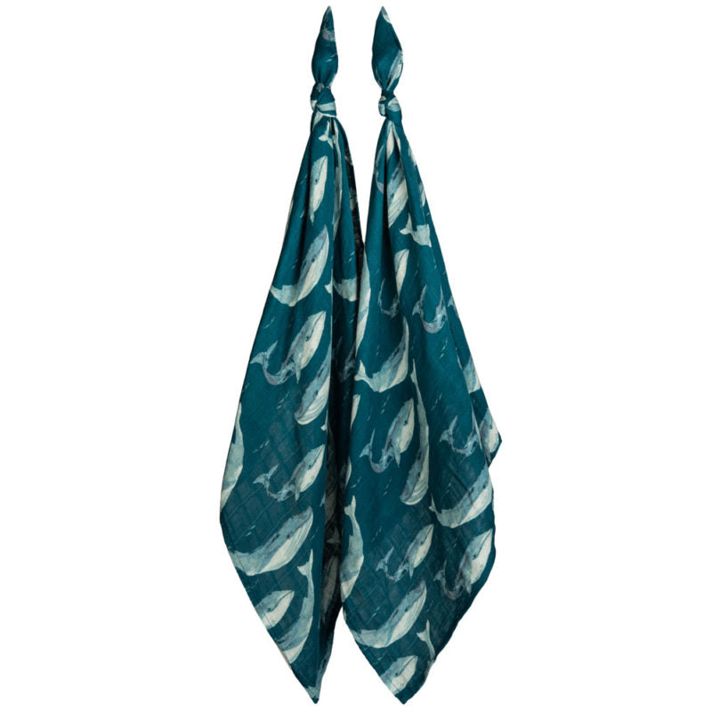Blue Whale Bamboo Burp Cloths