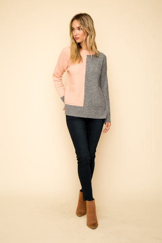 Pink & Charcoal Color Block Sweater
