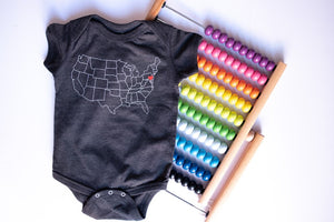 USA Map Heart Onesie in Smoke