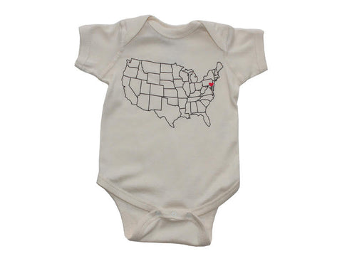 Counter Culture USA Map Heart Onesie in Natural by counter couture at local Fairmount shop Ali's Wagon in Philadelphia, Pennsylvania