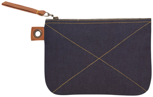 Blue Denim Large Zipper Pouch