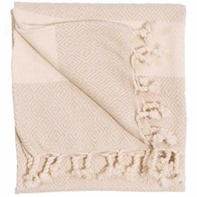 Load image into Gallery viewer, Cream Diamond Turkish Towel
