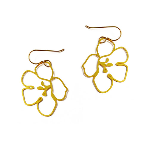 Gold Trumpet Vine Blossom Earrings