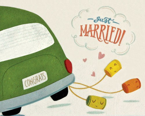 Just Married Congrats Wedding Cans Card by Good Paper at local Fairmount shop Ali's Wagon in Philadelphia, Pennsylvania