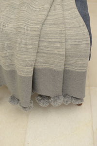 Grey Pom Pom Throw
