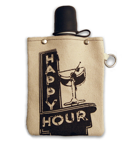 Happy Hour Canvas Flask