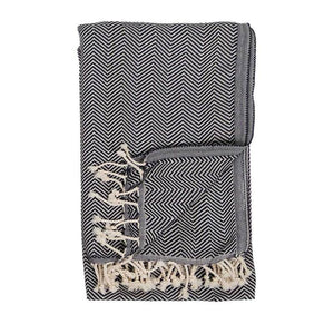 Black Olive Herringbone Turkish Towel
