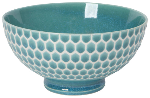 Teal Honeycomb Embossed Bowl