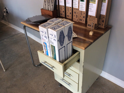 Desk by Dusty Amodio at local housewares store Division IV in Philadelphia, Pennsylvania