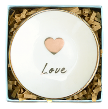 Load image into Gallery viewer, Love Heart Happy Golden Ring Dish