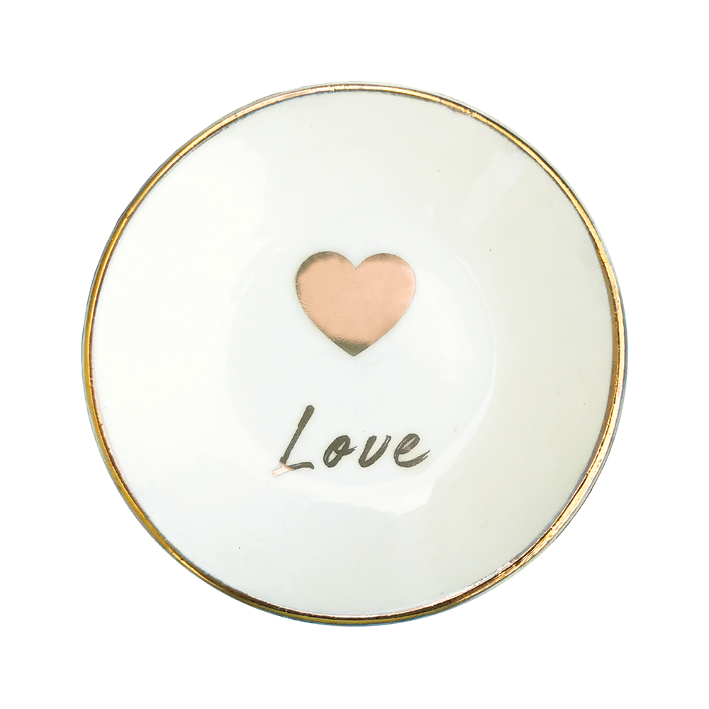 Love Heart Happy Golden Ring Dish