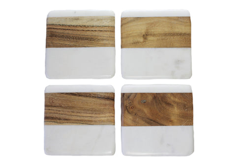 Square Marble & Wood Coasters