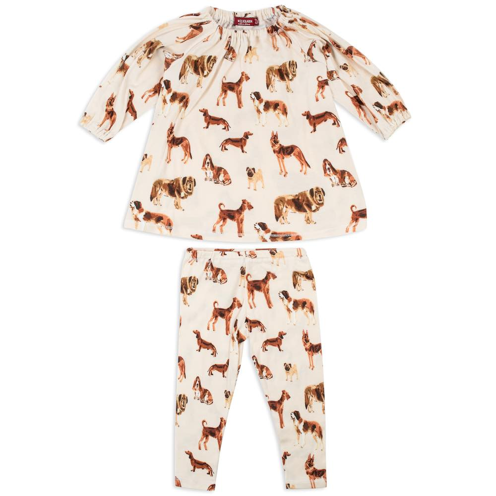 Dog Printed Organic Dress & Legging Set