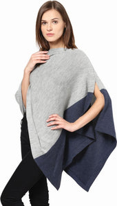 Grey and Navy Merino Wool Poncho
