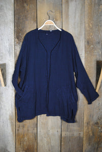 Navy Simple Jacket with Pockets