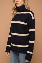 Load image into Gallery viewer, Navy & White Stripe Turtleneck Sweater
