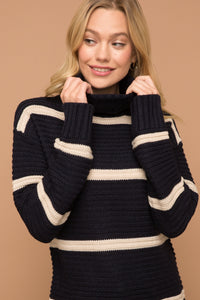 Navy & White Stripe Turtleneck Sweater