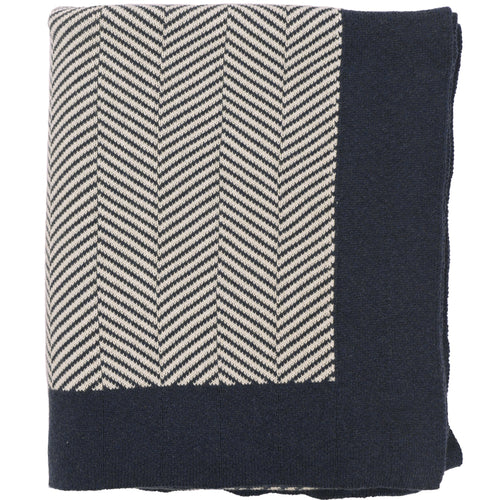 Navy Herringbone Throw Blanket