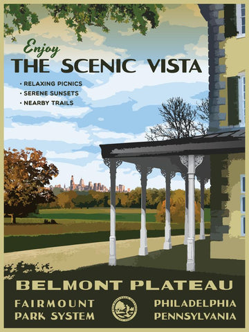 Belmont Plateau Poster by Philly Outside at local housewares store Division IV in Philadelphia, Pennsylvania