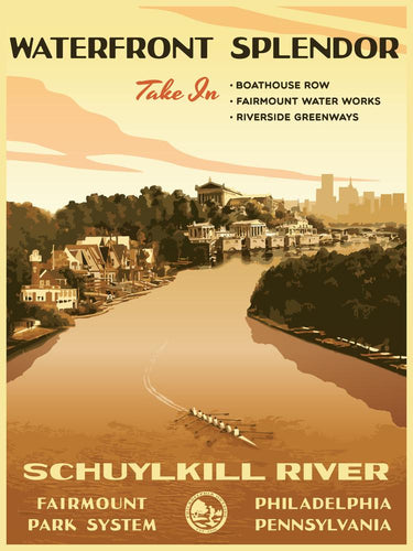 Schuylkill River Poster by Philly Outside at local housewares store Division IV in Philadelphia, Pennsylvania