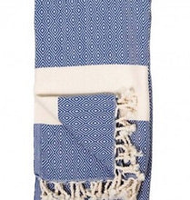 Load image into Gallery viewer, Navy Diamond Turkish Towel