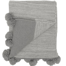 Load image into Gallery viewer, Grey Pom Pom Throw