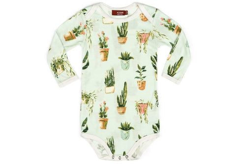Potted Plants Bamboo Long Sleeve Onesie