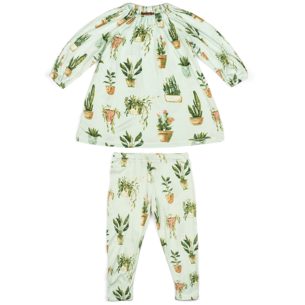 Potted Plants Bamboo Dress & Legging Set
