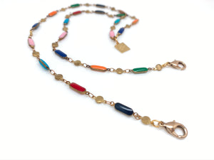 Rainbow Enameled Brass Mask Chain