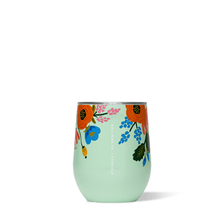 Mint Lively Floral Rifle Paper Corkcicle Stemless