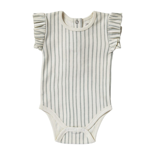 Sea Stripes Ruffled Onesie