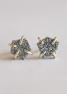 Silver Druzy Prong Studs