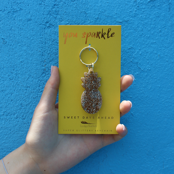 Sweet Days Pineapple Glitter Keychain