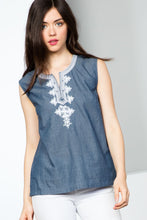Load image into Gallery viewer, Sleeveless Denim Split Neck Top