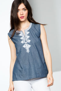 Sleeveless Denim Split Neck Top