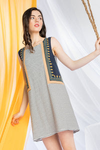 Contrasting Striped & Embroidered Dress