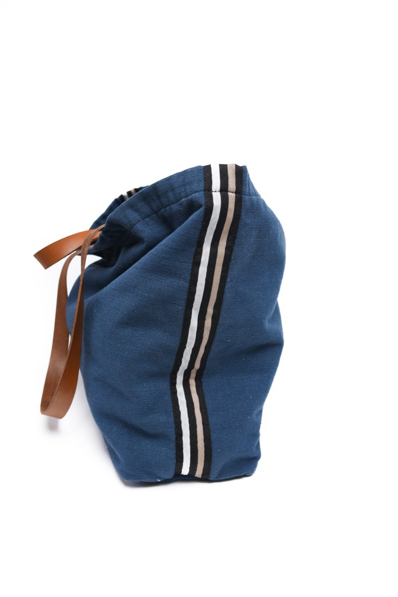 Navy Side Stripe Wayne Tote