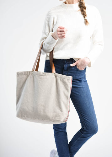 Grey Side Stripe Wayne Tote