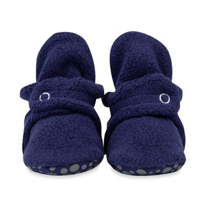 True Navy Cozie Fleece Gripper Bootie