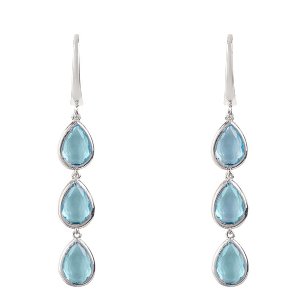 Natural Blue Topaz Drop Earrings