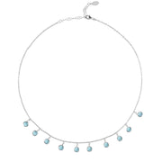Florence Round Gemstone Necklace Silver Blue Topaz - Joy of London Jewels