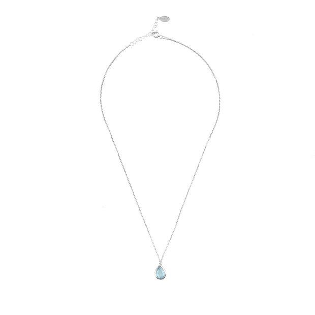 Pisa Mini Teardrop Necklace Silver Blue Topaz - Joy of London Jewels