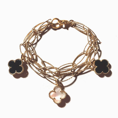14K Yellow Gold Triple Strand Almond Italian Cut Strands Black Onyx & Mother of Pearl Clover Bracelet
