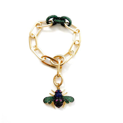 14K Yellow Gold Link Sparkle Bumble Bee Bracelet - Joy of London Jewels