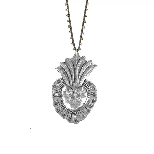 Hand Cast Silver Plated Bronze Heart Necklace - Joy of London Jewels