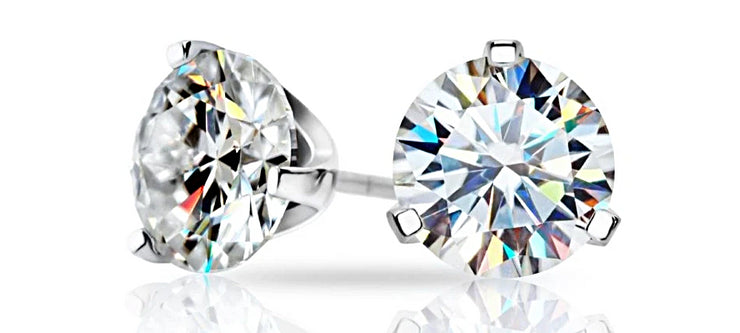 18K White Gold Moissanite Round Brilliant Cut Stud Earrings - Joy of London Jewels