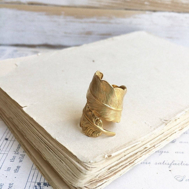 SALE  Golden Raven Feather Ring - Joy of London Jewels