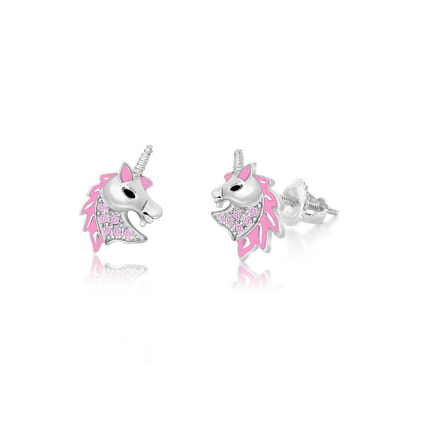 Swavorski Pink Enamel Unicorn Head Screwback Earrings