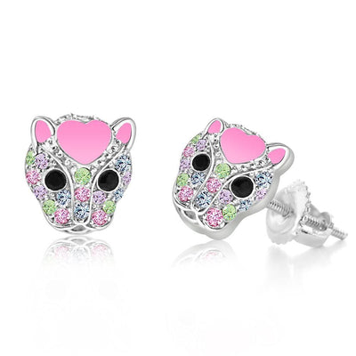 Swavorski Pink Enamel Jaguar Screwback Earrings - Joy of London Jewels