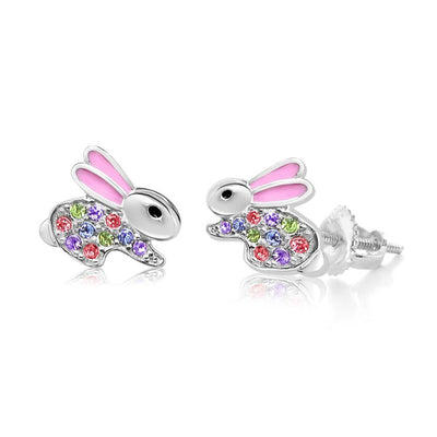Swavorski Crystal Pink Enamel Bunny Screwback Earrings